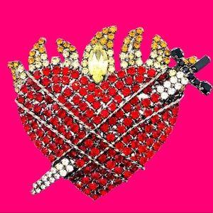 Vibrant Sacred Heart & Dagger Brooch - Rockabilly